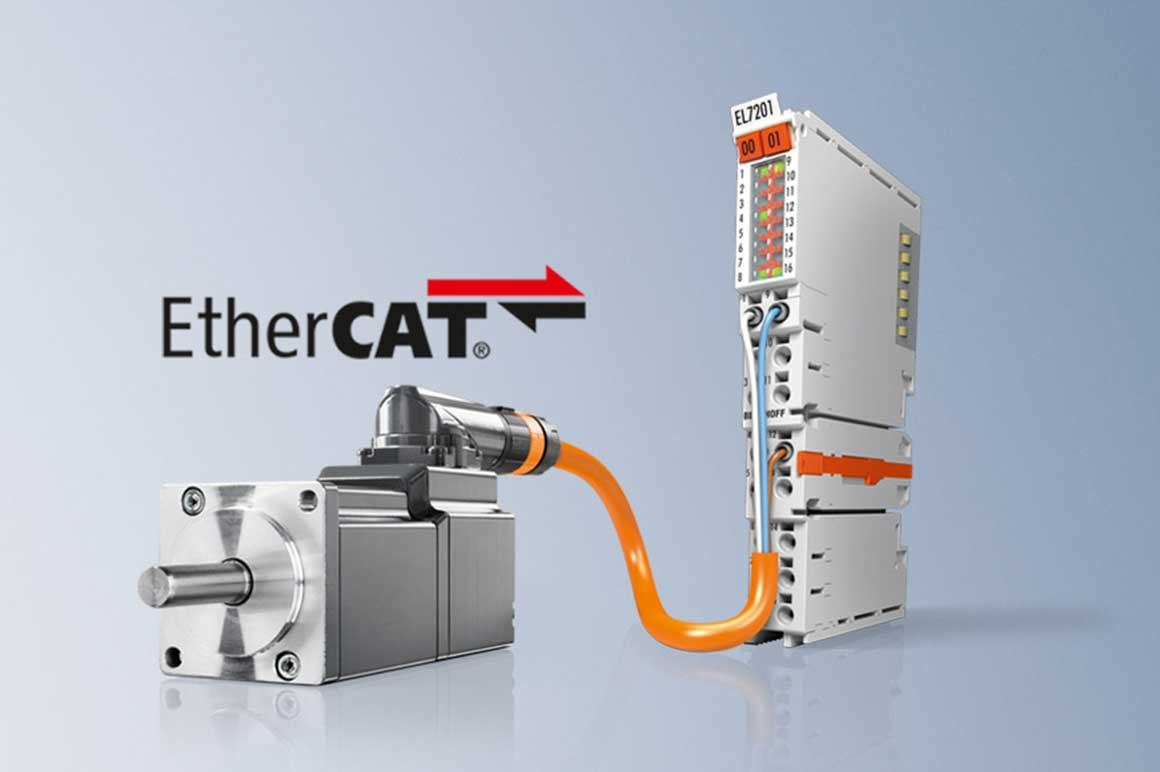 The servo terminals for the Beckhoff EtherCAT Terminal system integrate a complete servo drive for highly dynamic positioning tasks in a standard terminal housing.