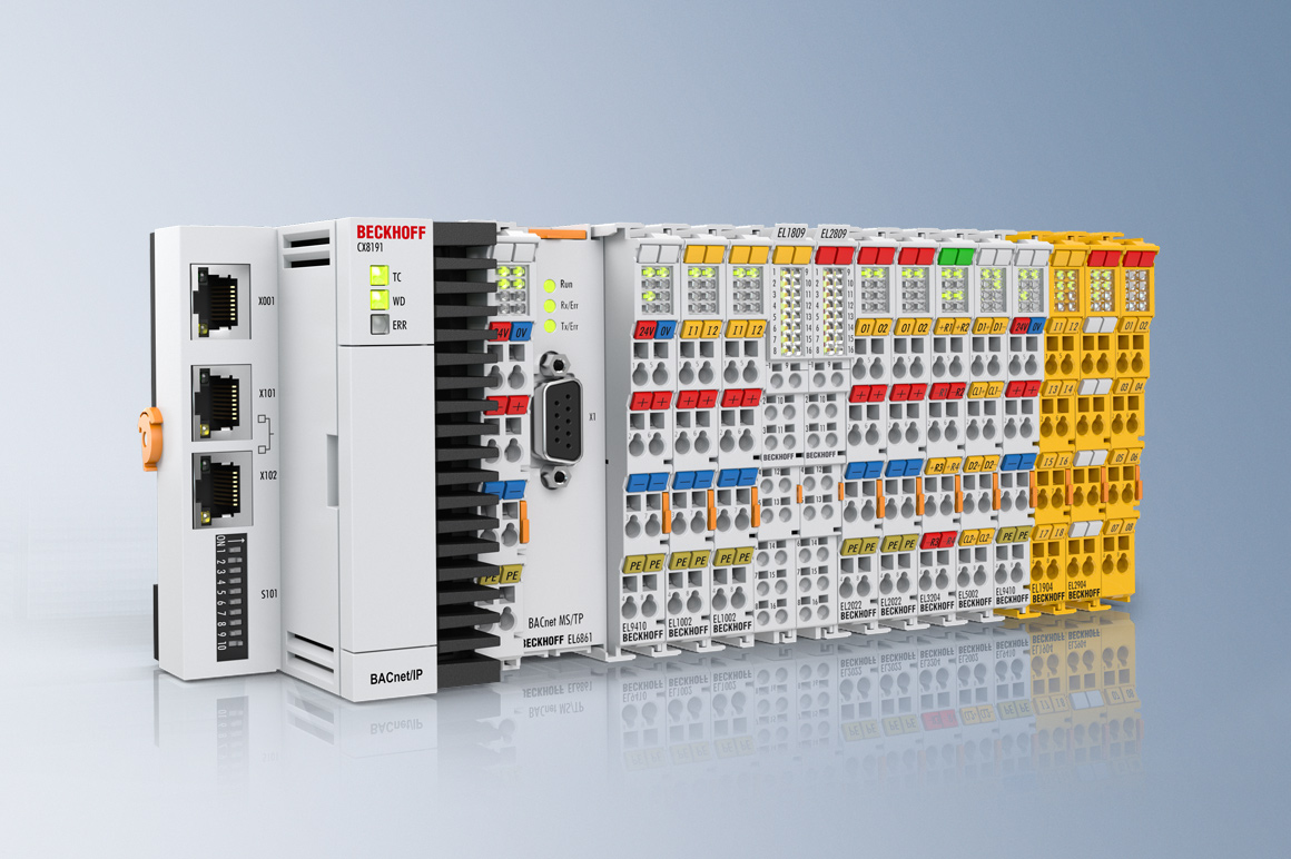 In TwinCAT BACnet, Beckhoff offers a complete product line that is characterized by its high scalability: From the compact ARM-based CX8191 controller, which supports up to 750 BACnet objects, to Panel PCs in various screen sizes to the CX51xx or the Industrial PCs from the C60xx series, on which several thousand BACnet objects can be collected and processed centrally, the devices can be used without restriction as BACnet Building Controllers (B-BC). With the EL6861 terminal, devices can be easily and securely connected via BACnet MS/TP (master-slave/token passing) and integrated into the BACnet network.