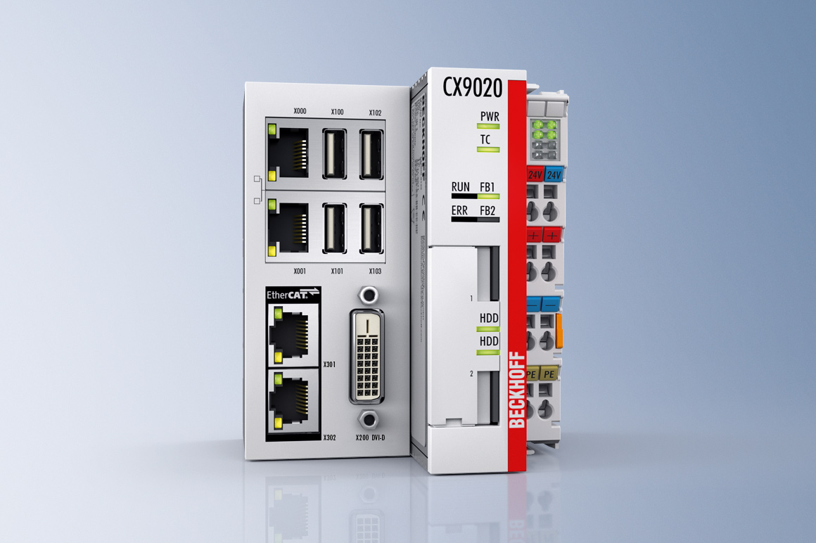 The CX9020 Embedded PC is an extremely compact PC controller. Equipped with a fanless ARM Cortex™ A8 processor with a clock speed of 1 GHz, the CX9020 is suitable for universal use as a zone and floor controller. An ex factory configurable multi-option interface enables a variety of optional extensions: from the audio interface to the fieldbus master or slave.
