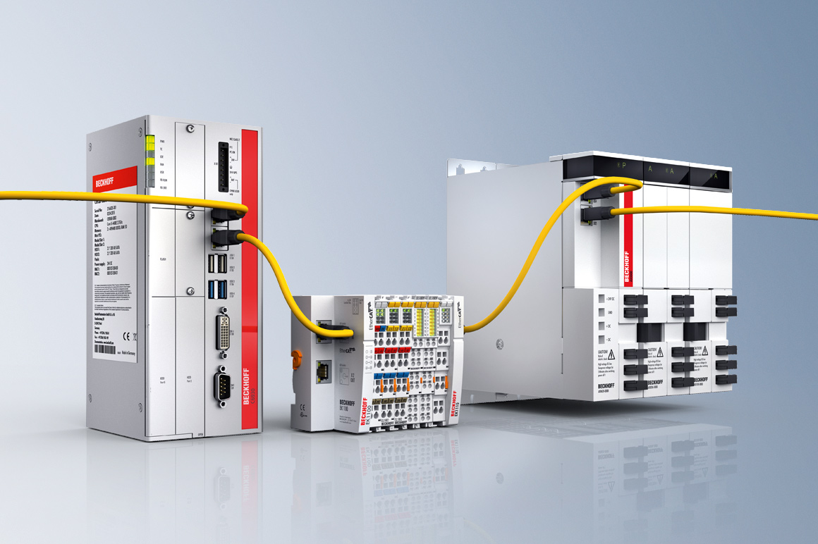 EtherCAT, the high-speed Ethernet system, is the universal link for the process communication between I/Os, motion control, safety technology and control PC.