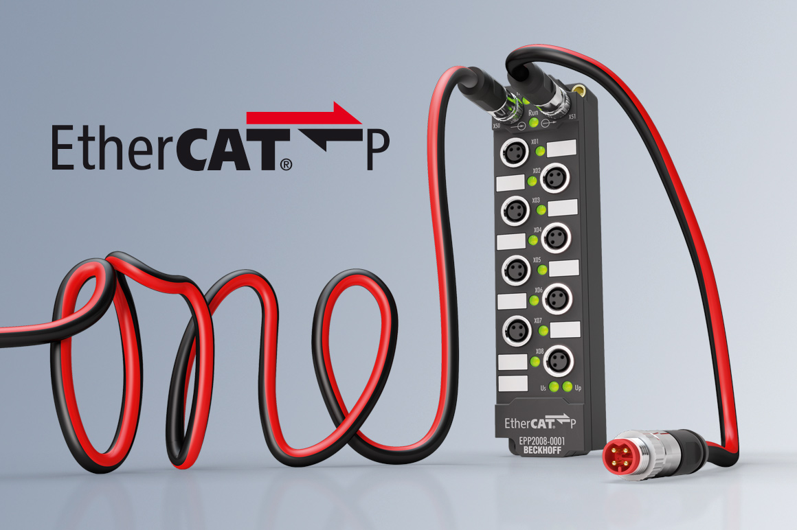 In 2016 the EtherCAT P extension set a further milestone with the transfer of EtherCAT communication and supply voltage (2 x 24 V) on a standard Cat.5 cable. This concept becomes the basis for machines without control cabinets.