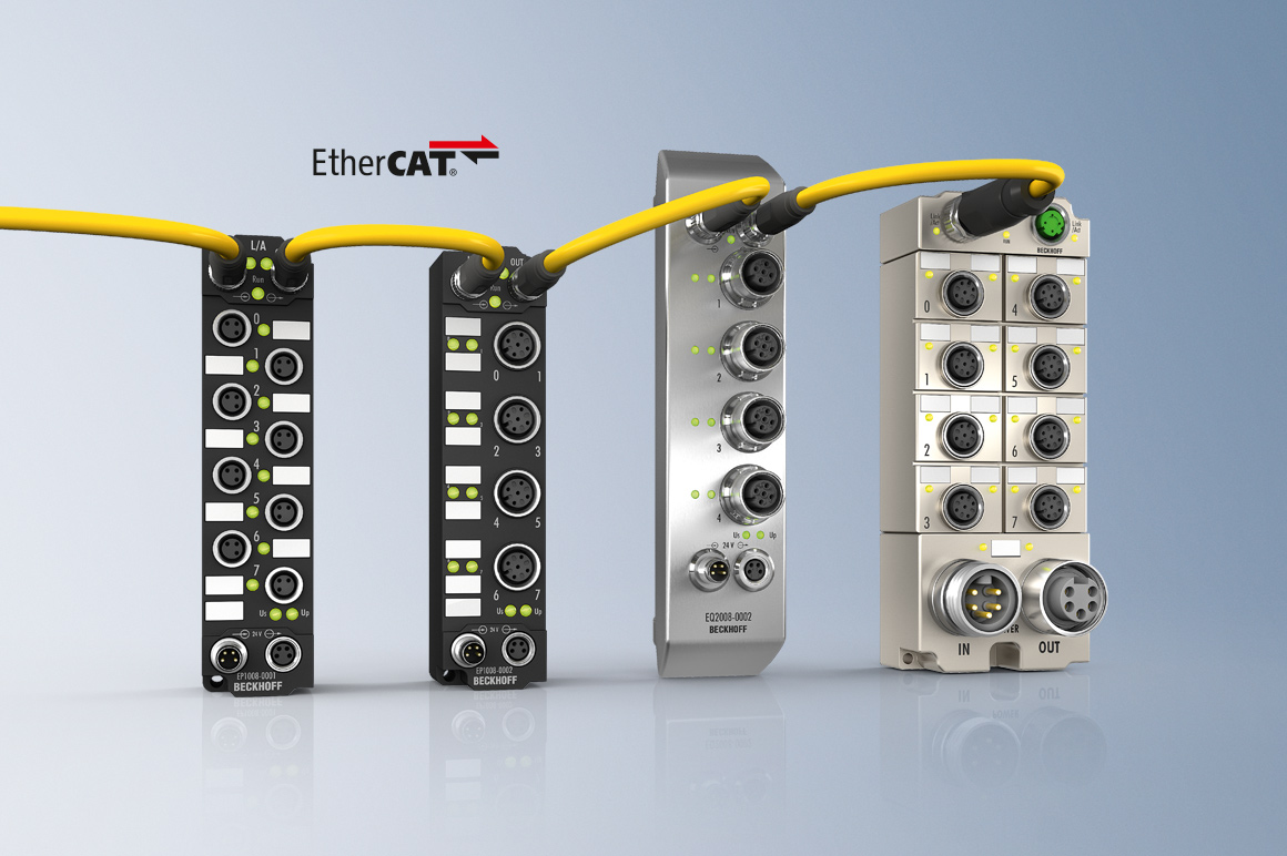 The robust design of the EtherCAT Box modules in IP67 enables them to be used directly on the machine. Control cabinets and terminal boxes are now no longer required.