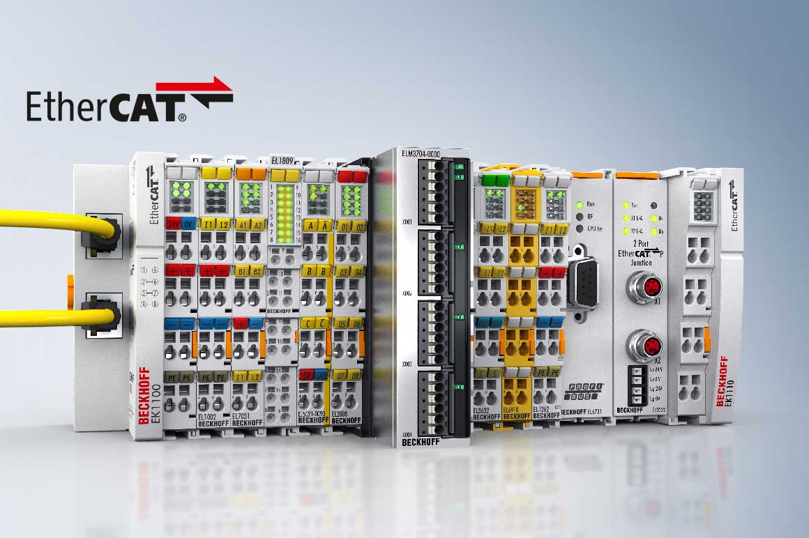 The extensive range of EtherCAT Terminals consists of electronic terminal blocks for use in the control cabinet or terminal box. Unlike the fieldbus-neutral Bus Terminals, the fast EtherCAT standard is integrated into the individual EtherCAT Terminal. The EtherCAT Terminal system offers extensive solution options for the realization of all tasks and challenges in automation technology: a suitable product is available for virtually every type of signal and every application area. Other fieldbus protocols can also be integrated into the EtherCAT network.
