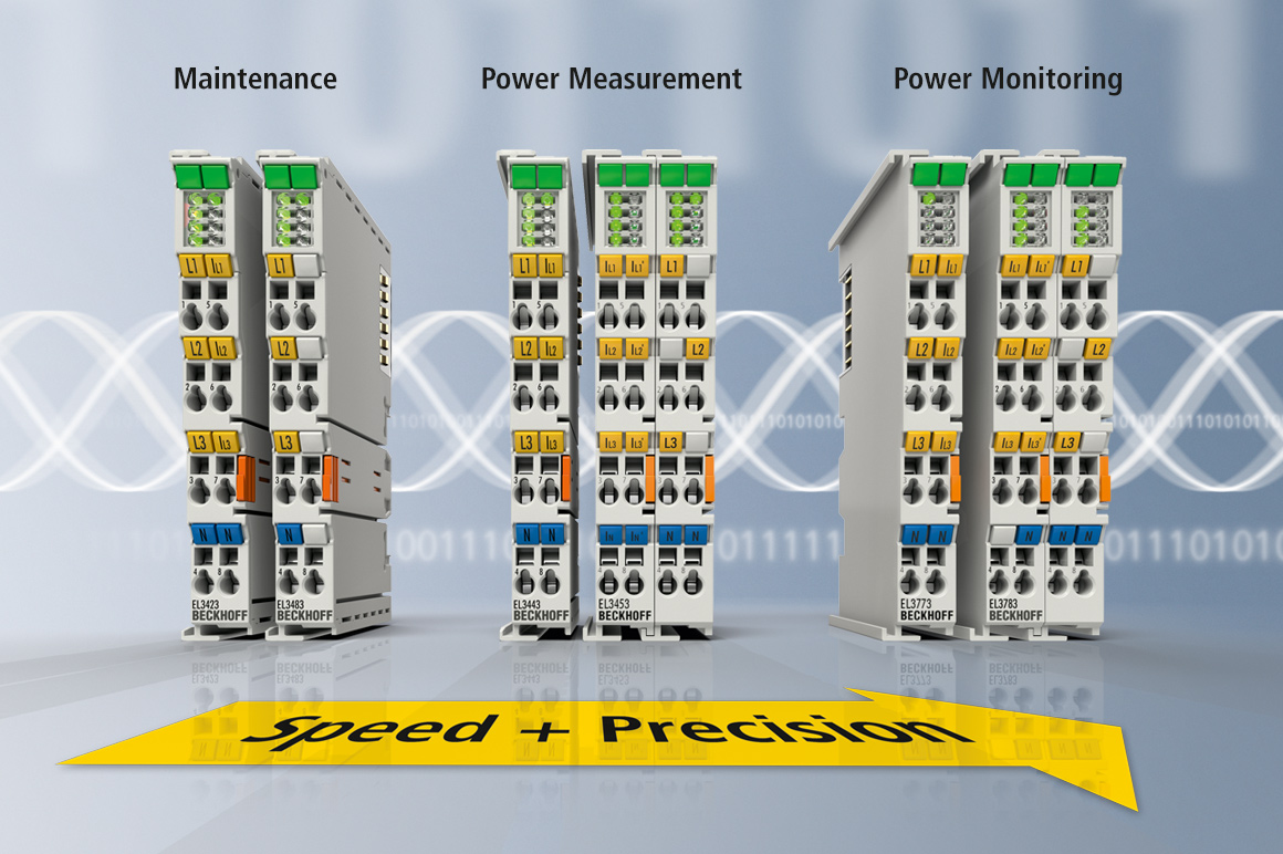 With the EtherCAT Terminals for energy management, the various tasks in the areas of power monitoring, process control and grid monitoring or maintenance can be solved in an optimally scalable manner.
