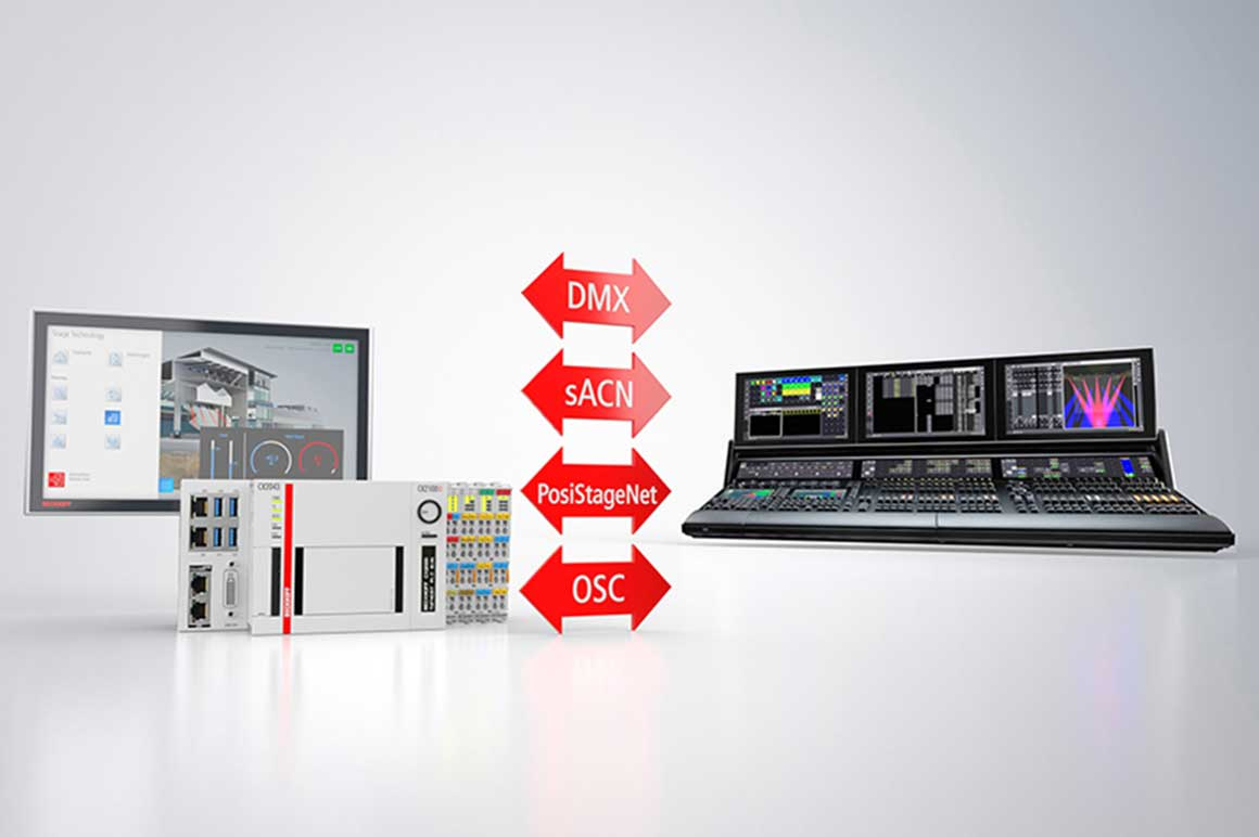 Beckhoff supports the integration of lighting control solutions via DMX, sACN, PosiStageNet and OSC.