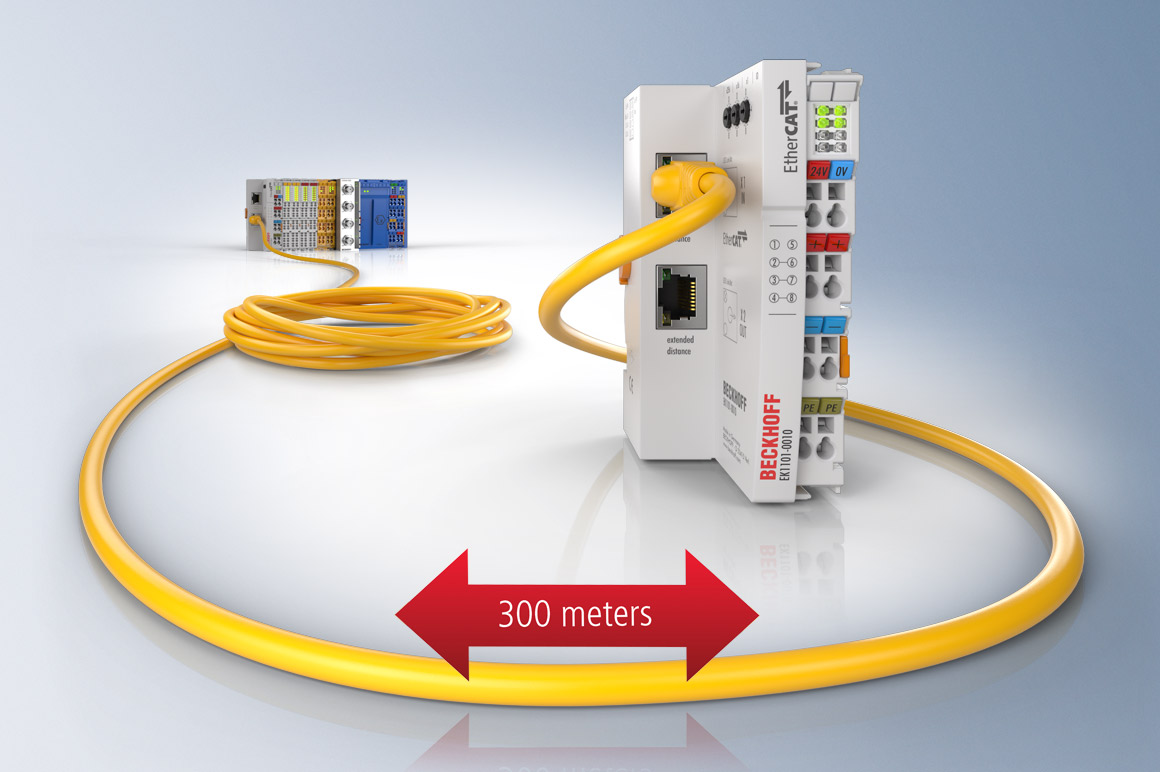 With its Extended Distance technology, EtherCAT simplifies data acquisition in large and distributed areas.