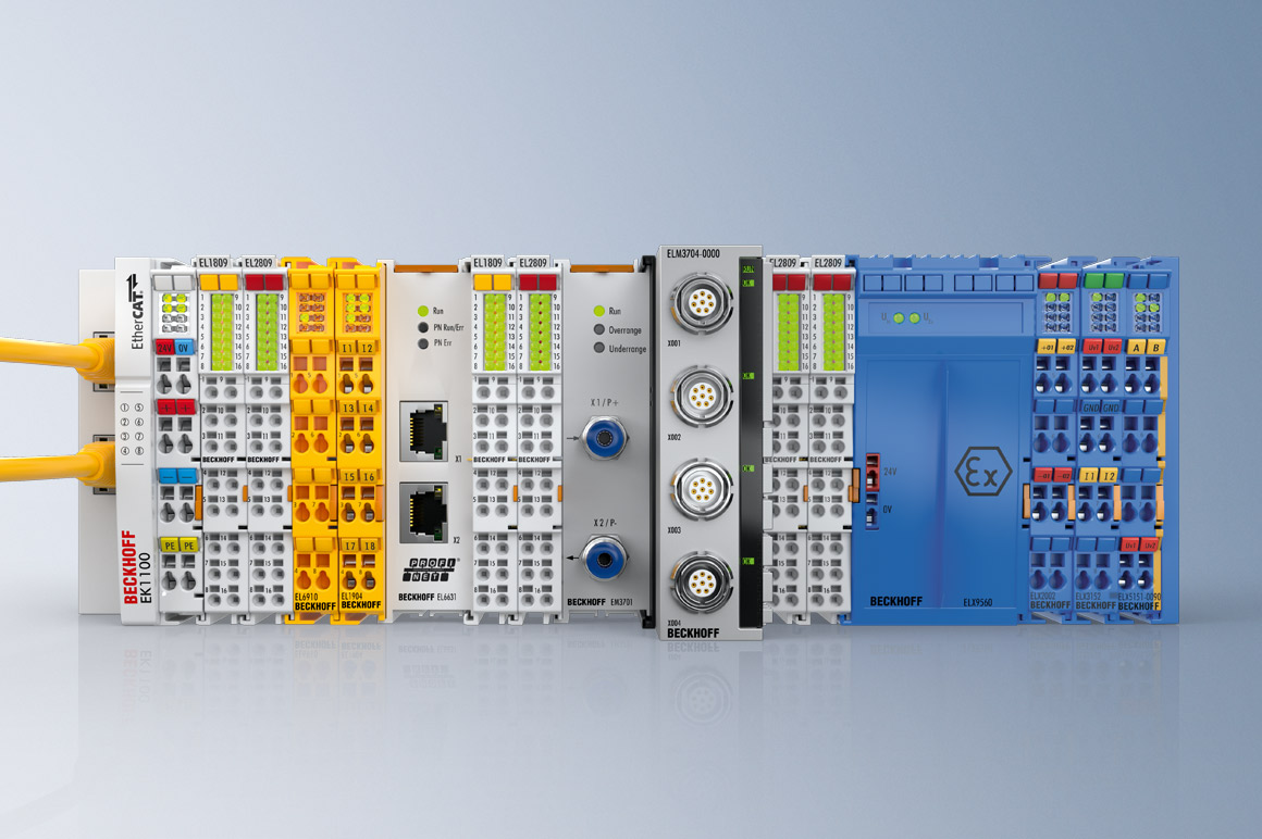 With the principle of PC-based control technology, Beckhoff enables a wide range of I/O components to be combined in one system. EtherCAT Terminals for measurement technology tasks, functional safety or explosion protection can be combined freely and integrated into a holistic control system.