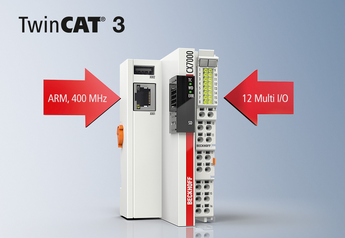 The CX7000 Embedded PC can be used as a high-performance and cost-effective small controller with the TwinCAT 3 software generation and can be extended as desired by Bus Terminals or EtherCAT Terminals.