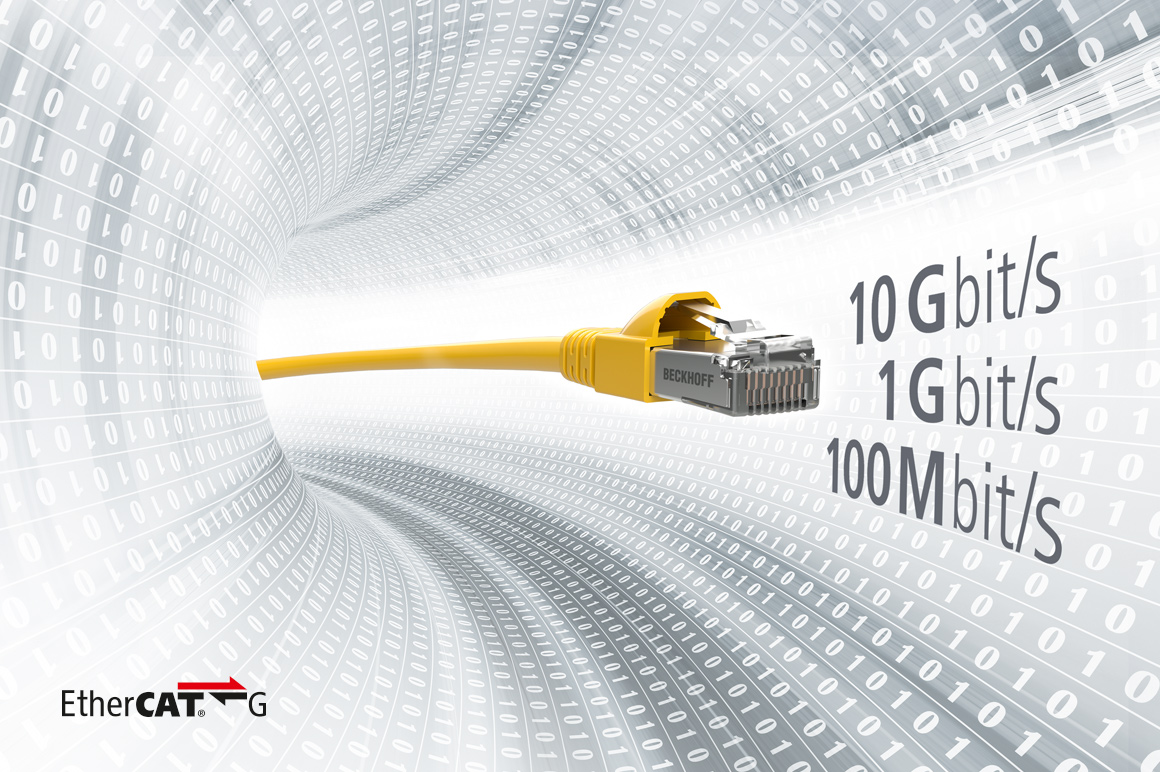 EtherCAT G represents the continuation of the EtherCAT success story at speeds of 1 Gbit/s or 10 Gbit/s, which are now feasible. The EtherCAT protocol itself remains unchanged.