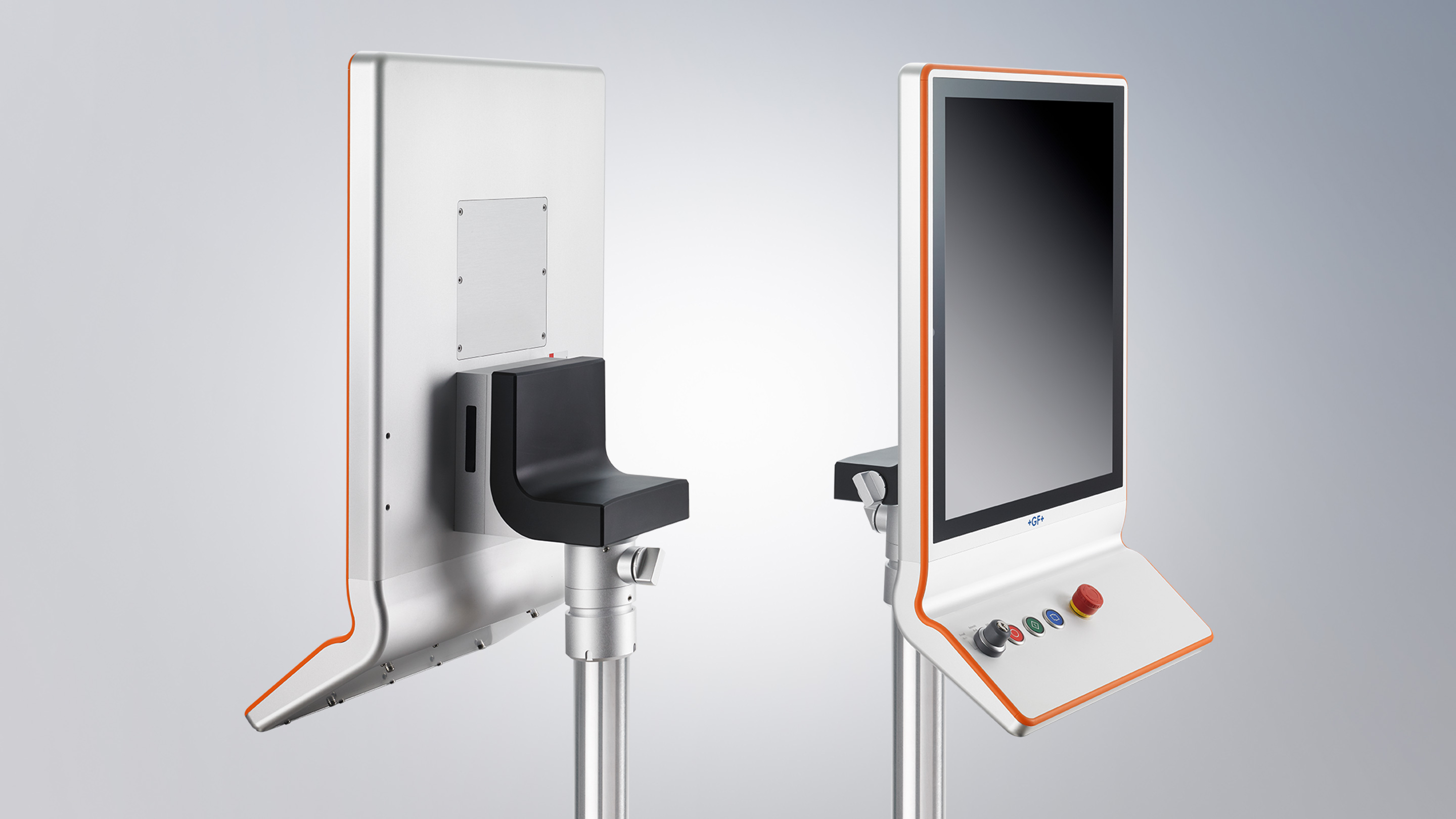19-inch 5:4 display in aluminum housing with orange piping and ergonomically shaped push-button extension, adapted to the corporate design