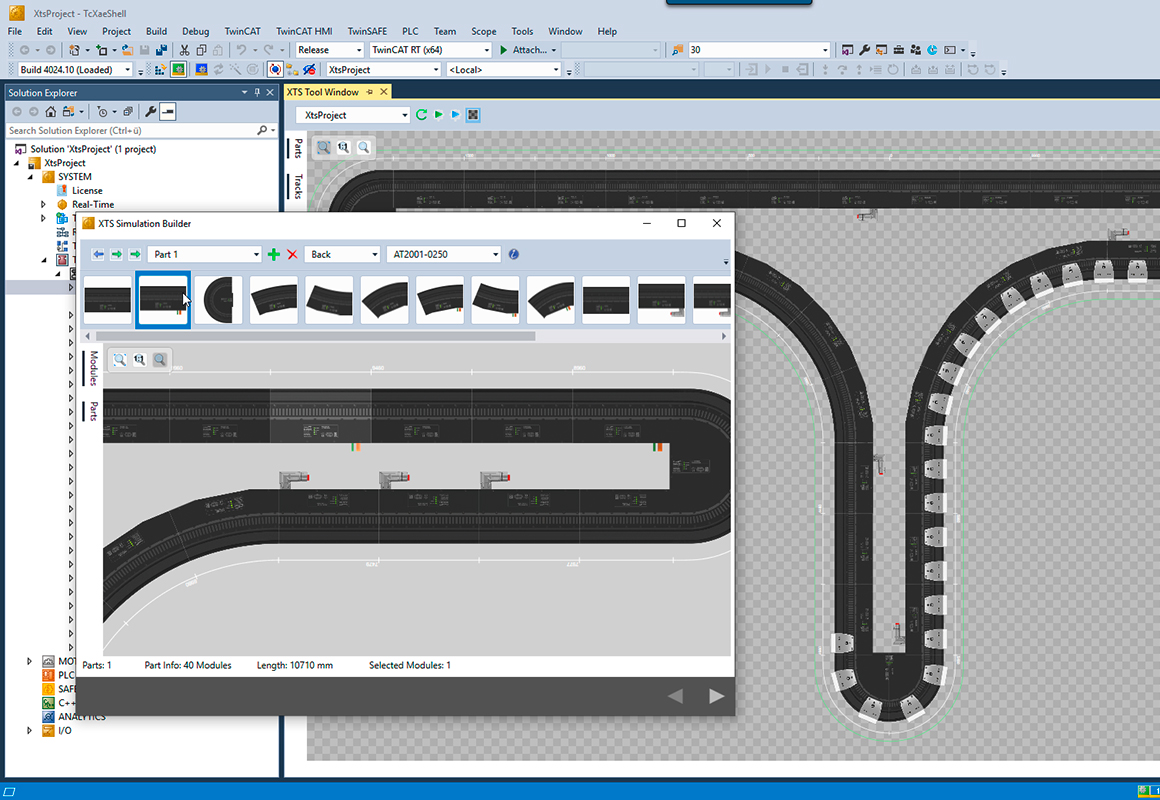 Editing of complex systems with the XTS Simulation Builder