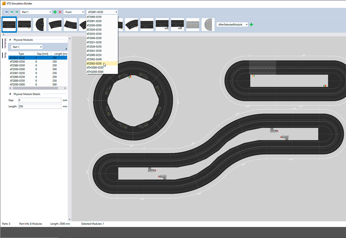 Creation of complex track layouts with the XTS Simulation Builder