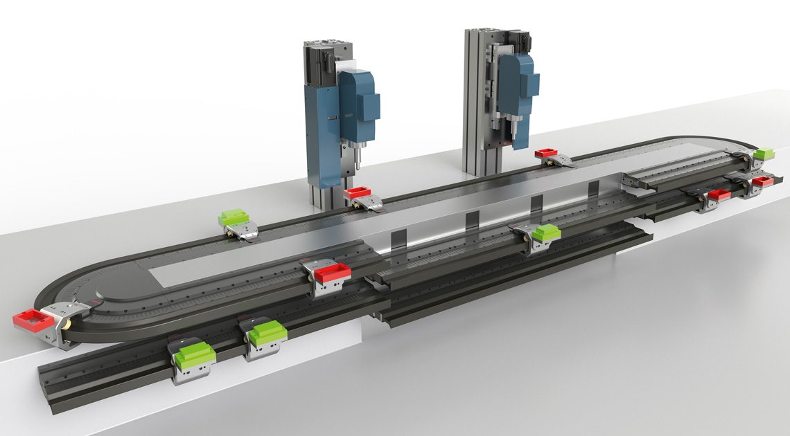 The Track Management enables maximum flexibility of the primary XTS system (above) by inserting and removing individual movers, thus enabling both maintenance and tool changes without the usual downtimes.