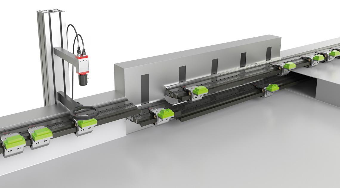 The flexible insertion and removal of products via the Track Management enables individual quality control and product reworking without interrupting the running production flow, for example by simply removing bad parts (below).