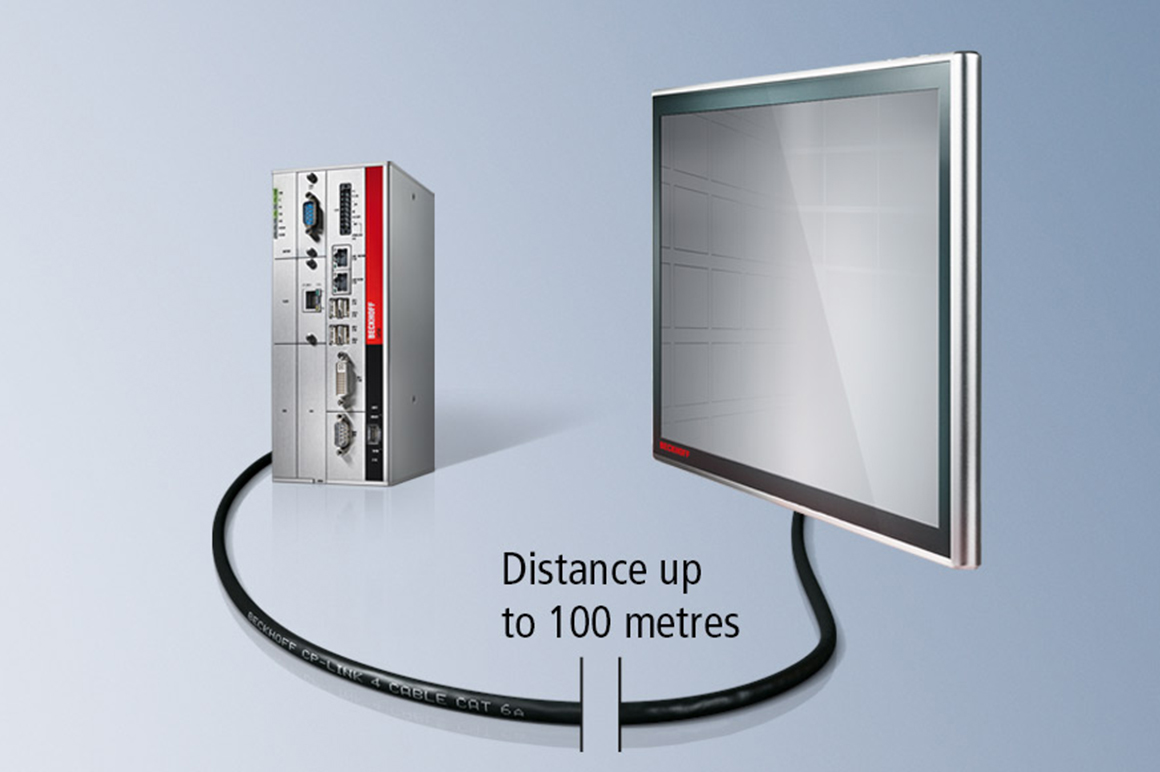 With CP-Link 4, the distance between Control Panel and Industrial PC can span up to 100 m.